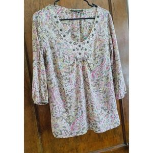 Tommy Bahama Paisley Top, Embroidered Neckline, XS